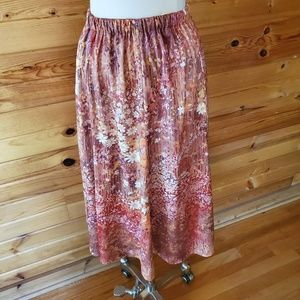 1970s Unlabeled Floral, Polyester Skirt
